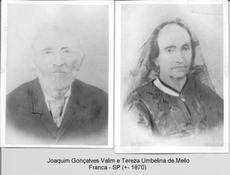 Joaquim Gonçalves Valim e Tereza Umbelina de Mello